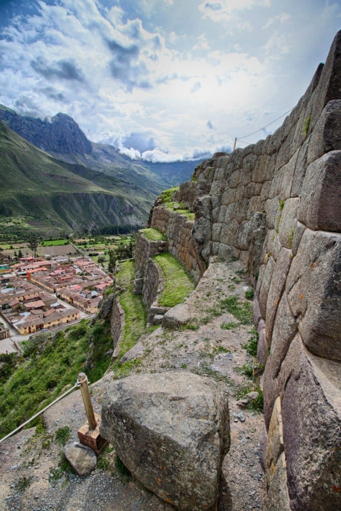 Looking down from the ruins to Ollantaytanbo