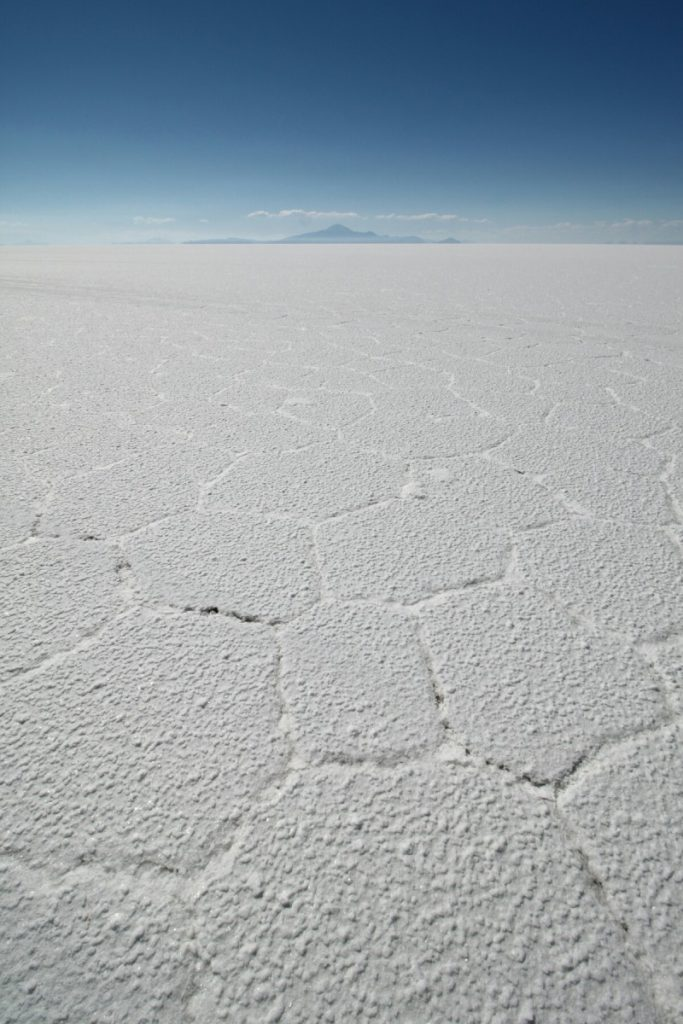 The salt forms big hexagons on the surface